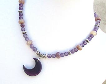 Tagua Nut Necklace, Ultra Violet Necklace, Lunar Necklace, Violet Moon Necklace, Amethyst Moon Necklace, February Birthday Gift 17-1/2in