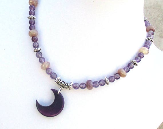 Purple Moon Pendant Necklace, Crescent Moon Necklace, Tagua Nut Amethyst Gypsy Necklace, February Birthday Gift 17-1/2in