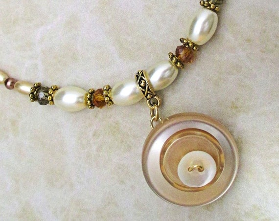 Button Necklace, Pendant Necklace, Pearl Jewelry, White Beige Statement Necklace, Gift for Her, Adjustable Necklace 16-1/2 to 18-1/2in