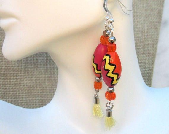 Funky Earrings, Colorful Jewelry, Wood Earrings, Tassel Jewelry, Cute Long Earrings, 925 Silver Earrings, Czech Glass Earrings 2-3/4in