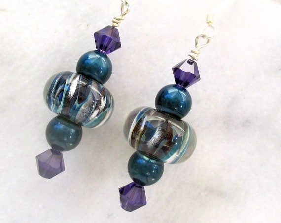 Lampwork Bead Earrings with Sterling Silver Hooks, Purple Crystal Pearl Earrings, Girlfriend Jewelry, One of a Kind Gift for Her 2in