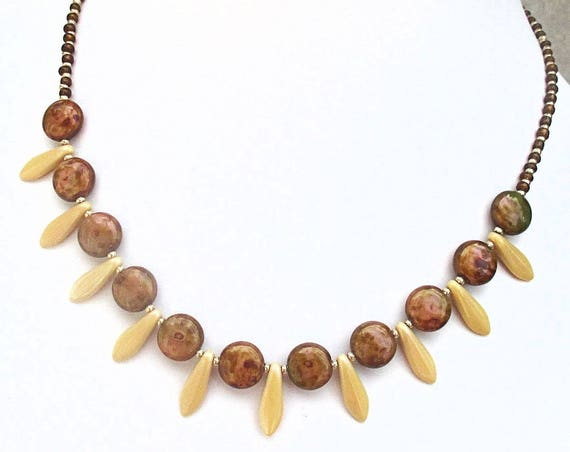 Czech Glass Necklace, Dagger Bead Necklace, Brown Jewelry, One of a Kind Christmas Gift for Her 17-19in / Matching Earrings Available