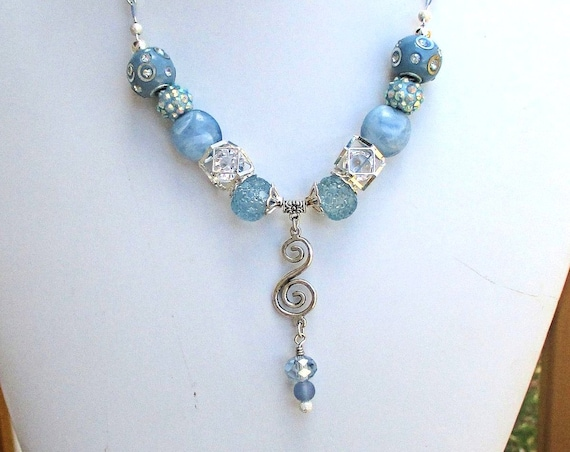 Blue Silver Chunky Necklace, Pendant Necklace, Bohemian Jewelry, Beaded Necklace, Mom Gift, Friend Gift, Christmas Gift for Her 18in