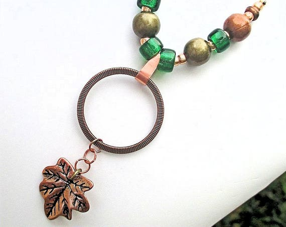 Copper Leaf Necklace, Pendant Necklace, Hemp Cord Necklace, Brown Green Druid Jewelry, Leaf Jewelry, Tree Lover Gift for Her, up to 22in