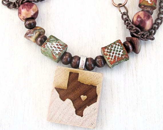 Texas Necklace, Wood Jewelry, Pendant Necklace, Unisex Jewelry, Brown Necklace, Lone Star State, Western Gift for Him, Gift for Her 20in