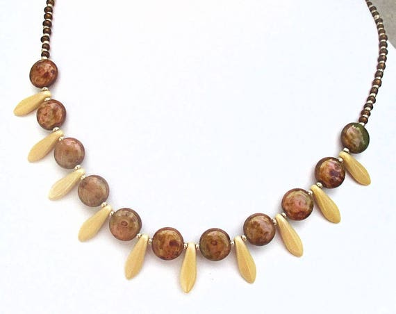 Dainty Brown and Beige Bohemian Necklace with Czech Glass Dagger Beads, 19-1/2in