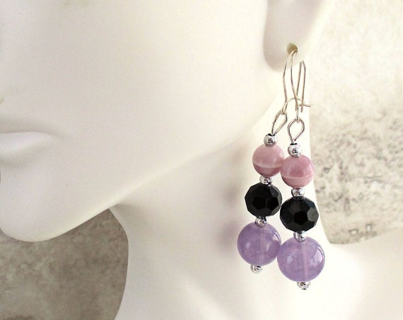 Purple Earrings with Sterling Silver Kidney Wires, Lilac Drop Earrings, Lavender Jewelry, 2 inches long
