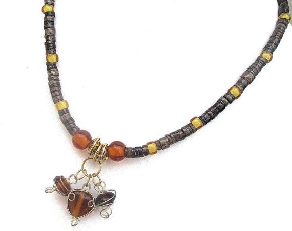 Dainty Short Necklace, Lampwork Glass Jewelry, Gold Amber Brown Charm Necklace, Bohemian Rustic One of a Kind Jewelry, Gift for Her 16in