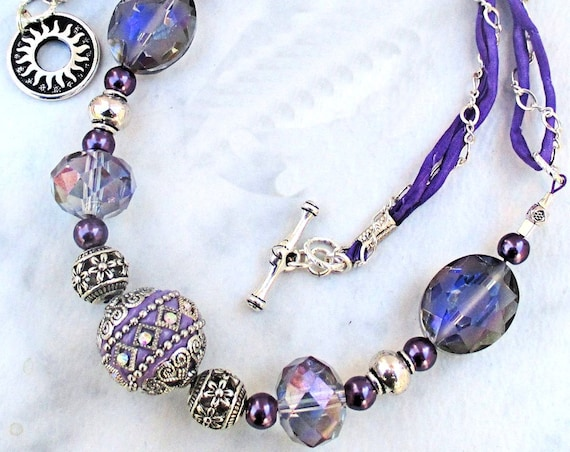Boho Chic Purple Chunky Necklace, Purple Ribbon Necklace, One of a Kind Ultra Violet Gift for Her 23in, Matching Earrings Available