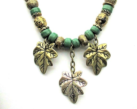 Leaf Necklace, Fall Jewelry, Autumn Necklace, Green Wood Necklace, Leaves Jewelry, Druid Jewelry, Gold Leaf Necklace, Gift for Her  23in