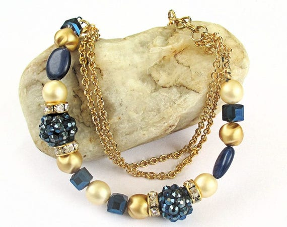 Blue and Gold Bracelet, Multistrand Pearl Bracelet, Chain Jewelry, Bohemian Adjustable Bracelet, Gift for Her, Matching Necklace Available