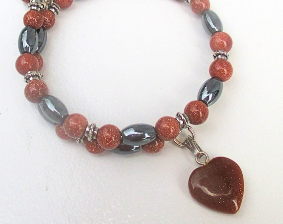 Heart Bracelet, Gemstone Jewelry, Heart Charm Bracelet, Goldstone Jewelry, Hematite Bracelet, Valentine's Day Gift, One Size Fits Most