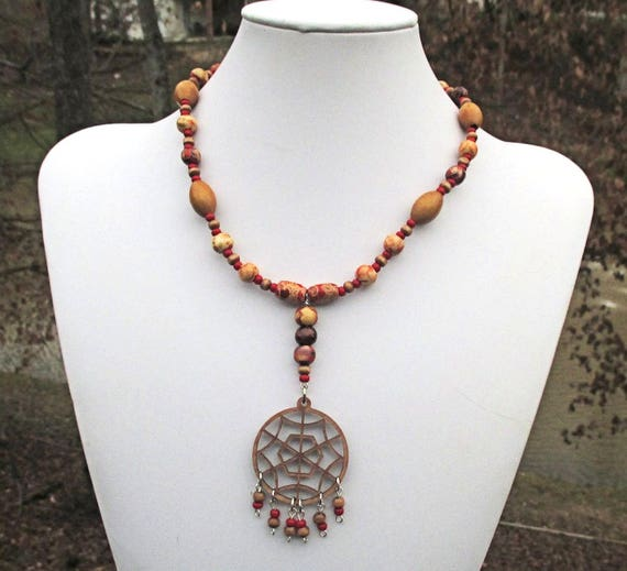 Wood Bead Necklace, Pendant Necklace, Tribal Jewelry, Spider Web Necklace, One of a Kind Gift for Her 16in, Matching Earrings Available