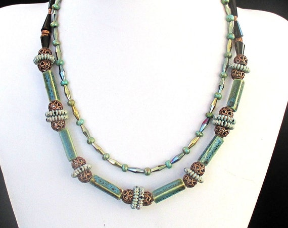 Teal Copper and Black Double-Strand Necklace, Shortest Strand 19in, Longest Strand 20in