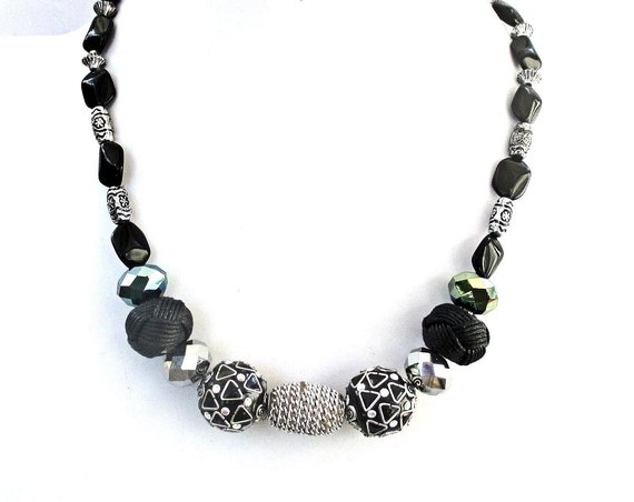 Black Big Bead Necklace with Silver Accents, Adjustable Black Necklace, Sparkly Faceted Mirror Bead Necklace, 17-1/2 to 22-1/2 in.