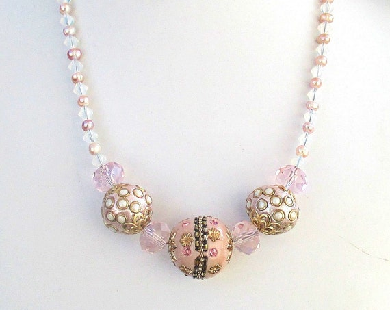 Pink Boho Necklace for Women, Big Bead Necklace with Blush Pearls and White Crystals, Adjustable 18-21in