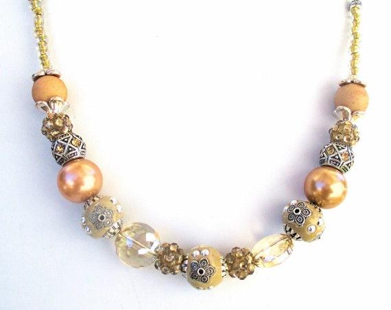Elegant Boho Necklace, Boho Bling, Rhinestone Beaded Necklace, Sparkly Bling Jewelry 22in