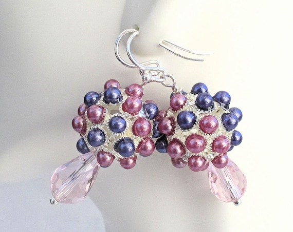 Lavender, Pink, and Silver Bauble Earrings with Pale Pink Crystals and Silver Filled Hooks