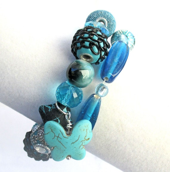 Teal Turquoise Stretch Bracelets, Set of Two Bracelets with Butterfly Charm, Best Fit for 6-7 inch Wrist
