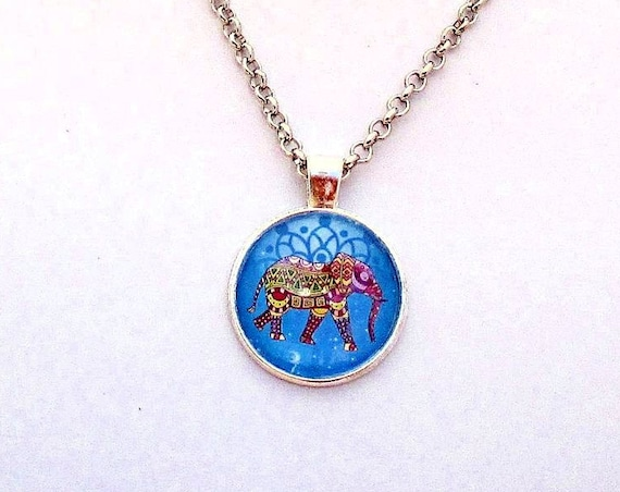 Elephant Necklace, Colorful Picture Pendant Necklace, Chain Jewelry, Animal Lover Elephant Jewelry, Elephant Gift for Her / Custom Length