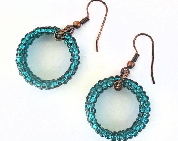 Copper Hoop Earrings with Iridescent Teal Beads, Bohemian Jewelry, Dressy Boho Earrings, One of a Kind Birthday Gift for Her 1-3/4in