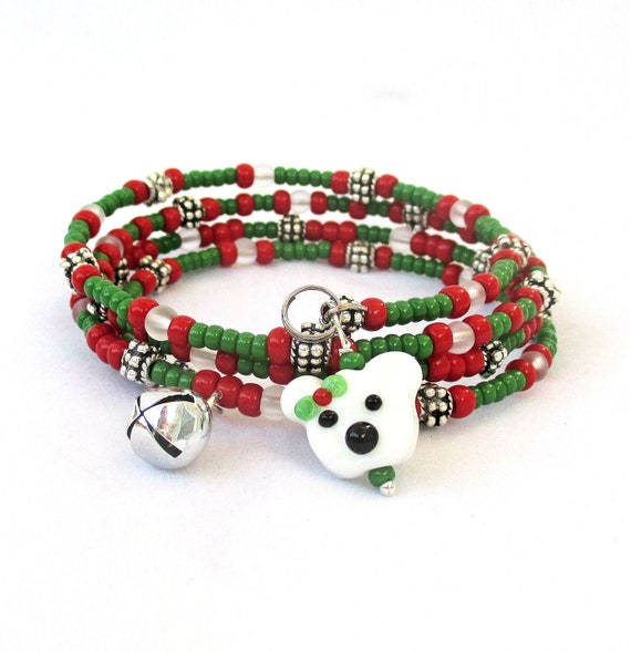 Red and Green Christmas Holiday Coil Bracelet with Polar Bear Jingle Bell Charms, One Size Fits Most