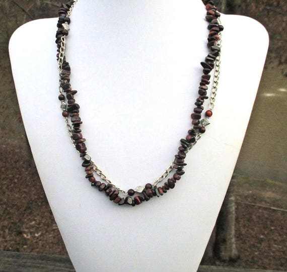 Multistrand Brown Gemstone Necklace with Red Tigereye, Long Beaded Necklace, Adjustable 22-24 inches