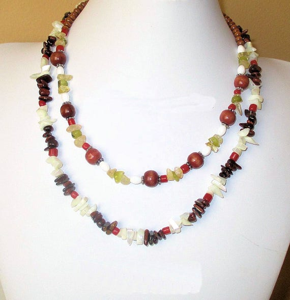 Colorful Necklace, Gemstone Jewelry, Funky Necklace, Shell Necklace, One of a Kind Christmas Gift for Her 17in, Matching Bracelet Available