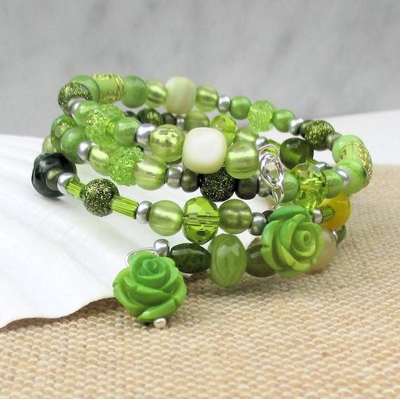 Green Glass Coil Bracelet, Green Rose Bracelet, Multistrand Green Bracelets for Women, One Size Fits Most / Matching Earrings Available