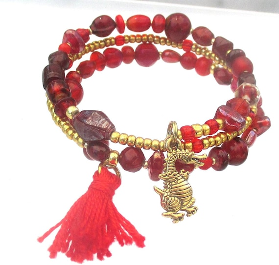 Red Dragon Bracelet, Tassel Jewelry, Dragon Charm or Other, Coil Bracelet, Red Gold Year of the Dragon, Gift for Her / One Size Fits Most