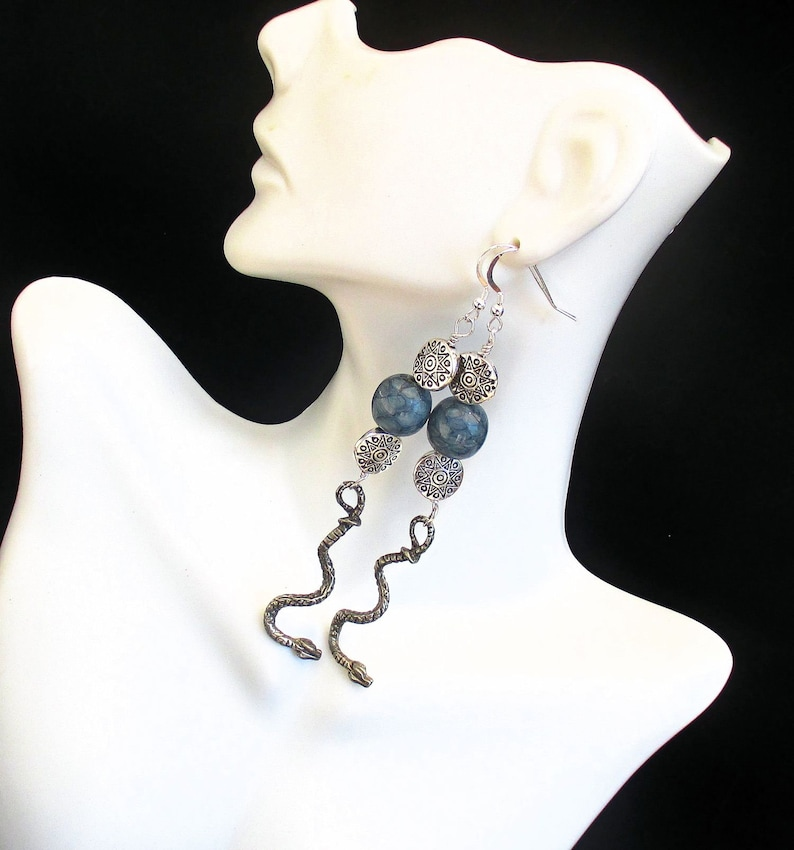 Snake Charm Bohemian Statement Earrings with Blue Snakeskin image 0