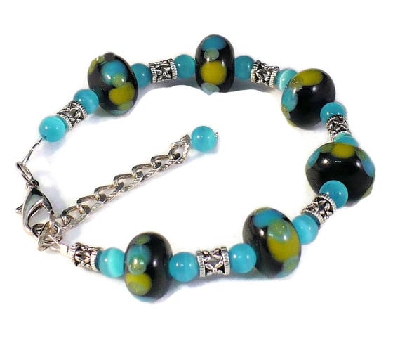 Chunky Bracelet, Lampwork Glass Bracelet, Turquoise Catseye Beaded Bracelet, Yellow Green Silver Jewelry, Gift for Her / Custom Sized