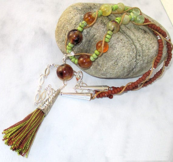 Tassel Necklace, Prehnite Gemstone Necklace, Cotton Cord Necklace, Chartreuse Jewelry, Olive Green Brown Necklace, Gift for Her 20-27in