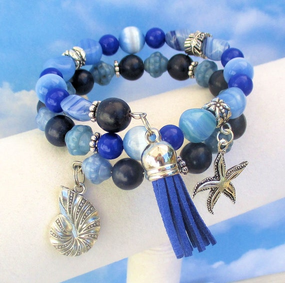 Nautilus Shell Charm Bracelet, Blue Coil Beach Bracelet, Turtle Charm Bracelet, Starfish Charm Bracelet, Tassel Bracelet, One Size Fits Most