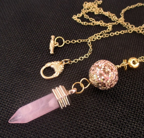 Gold and Pink Point Pendant Necklace with Disco Ball Bead and Gold Chain, Custom Length
