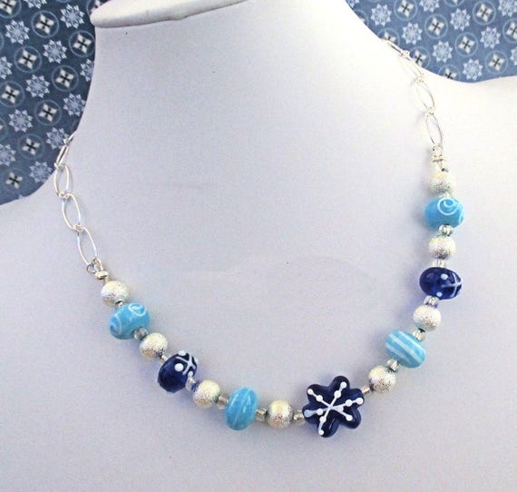 Blue Snowflake Necklace with Silver Filled Chain, Lampwork Bead Jewelry, Statement Necklace, Christmas Gift for Her / Adjustable to 20in