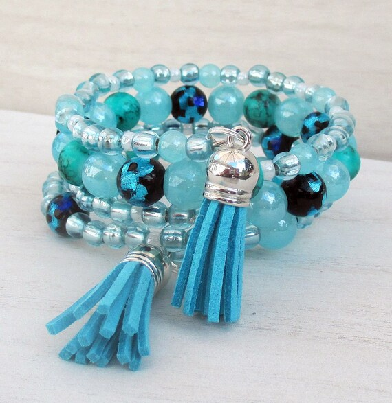 Multistrand Turquoise Blue Bracelet, Turquoise Tassel Bracelet, Turquoise Coil Bracelet, Beaded Memory Wire Bracelet, One Size Fits Most