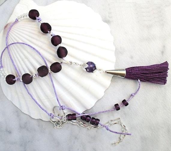 Purple Tassel Necklace, Amethyst Necklace Silver, Ultra Violet Jewelry, Gemstone Necklace, Tassel Jewelry, Cute Necklace for Girlfriend 24in