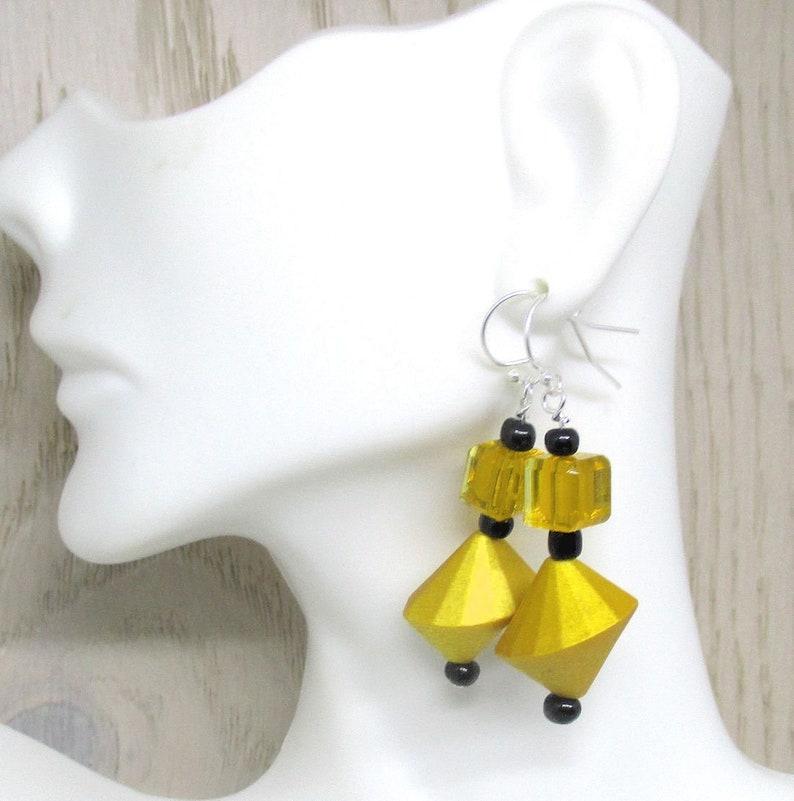 Geometric Yellow Dangle Earrings Bold Jewelry for Her Yellow image 0