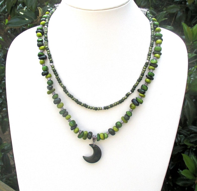 Dark Green Tagua Nut Double Strand Crescent Moon Necklace with image 0