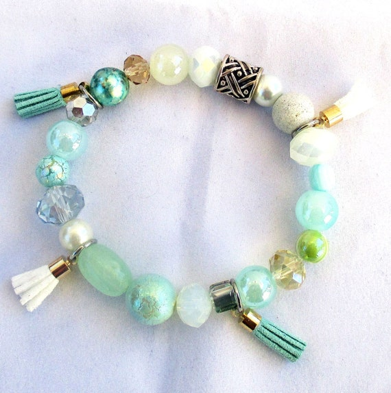 Sea Foam Green and Silver Stretch Bracelet with White and Green Tassels, Best Fit for 6-7 inch Wrist