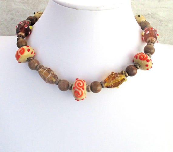 India Bead Necklace, Kashmiri Bead Jewelry, Gemstone Necklace, Chunky Short Necklace, Bollywood Jewelry, Matching Earrings Available