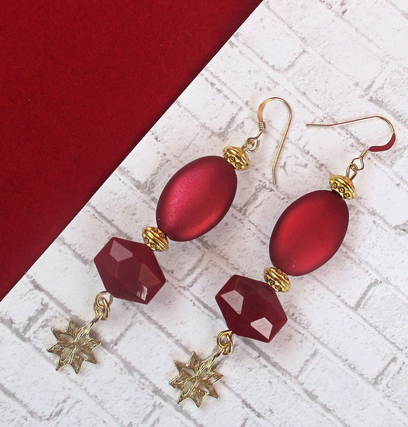 Long Wine Red 14K Gold Filled Holiday Dangle Earrings Gift image 0