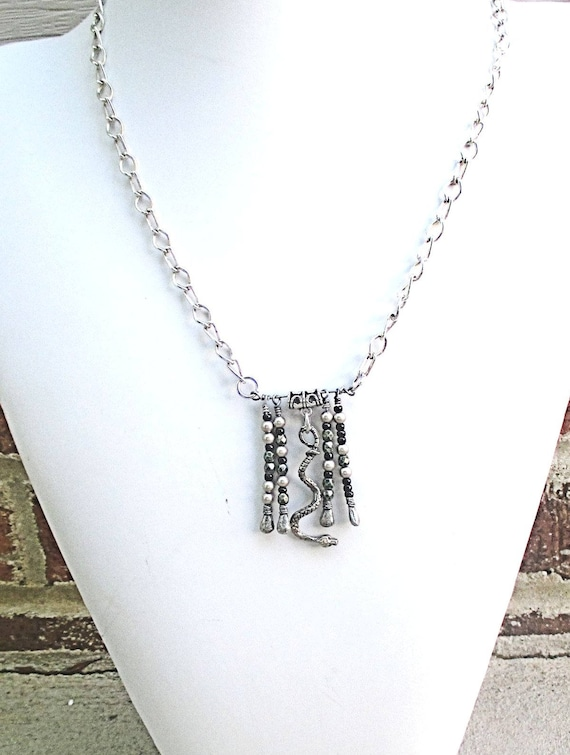 Snake Charm Bar Necklace on Silver Chain, Funky Necklace for Snake Lovers, Chinese Year of the Snake Jewelry, Adjusts to 24in