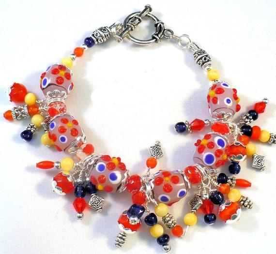 Lampwork Bracelet, Multicolor Cha Cha Bracelet, Yellow Red Blue Orange Bohemian Bracelet 8in long / Matching Necklace Earrings Available