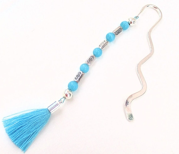Beaded Bookmark, Tassel Bookmark, Turquoise Blue Silver Reader Gift, Bookworm Librarian Gifts, Book Lover Gift, Teacher Christmas Gifts 5in