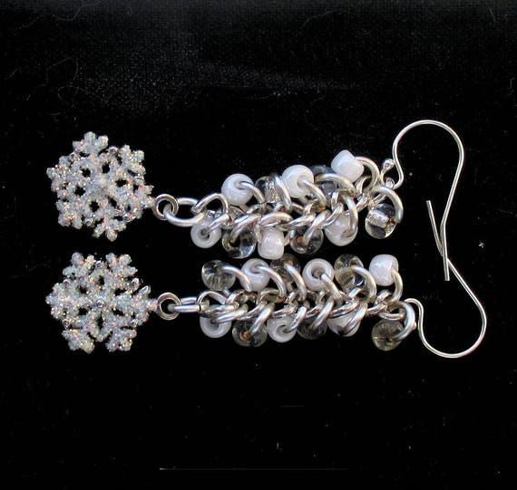 White and Silver Snowflake Earrings with Silver Filled Hooks, One of a Kind Winter Holiday Earrings, Christmas Gift for Her 2-1/4in