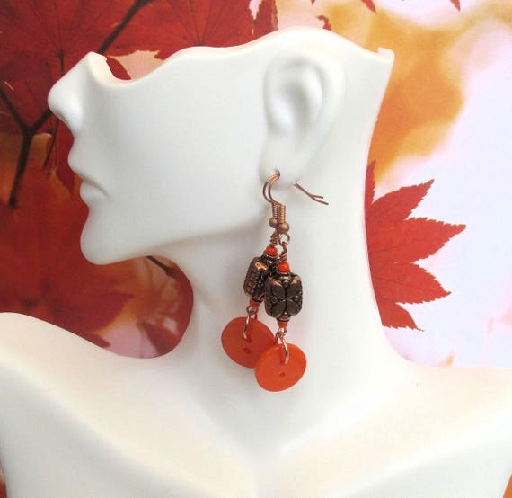 Button Earrings, Funky Earrings, Copper Jewelry, Copper Flower Earrings, Orange Button Jewelry 2-1/4in, Matching Necklace Available