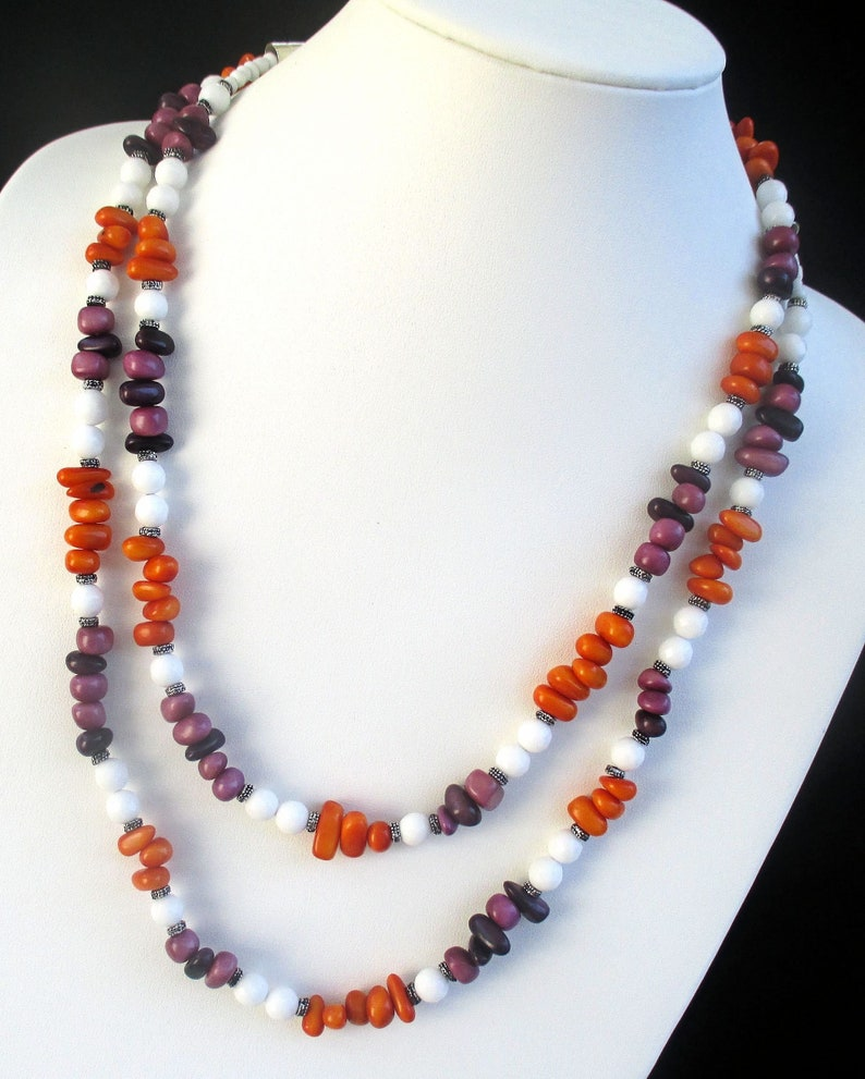 Orange Purple White Long Tagua Nut and Gemstone No Clasp image 0