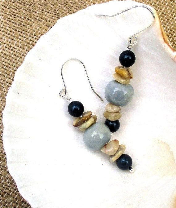 Blue Ceramic Bead Earrings, Sterling Silver Earrings, Gemstone Jewelry, Agate Earrings, Gift for Her 2in / Matching Necklace Available